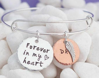 forever in my heart, sympathy gift, remembrance jewelry, memorial jewelry, memorial bracelet, memorial bangle, loss of loved one, grief