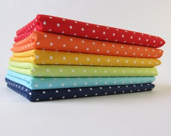 Rainbow of Pinhead Pin Dot Fabrics from Michael Miller Fabrics - Half Yard Bundle - 3 Yards Total