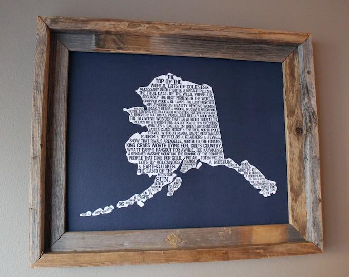 Alaska In A Nutshell Word Art Map Print (Dark Blue) - Unframed