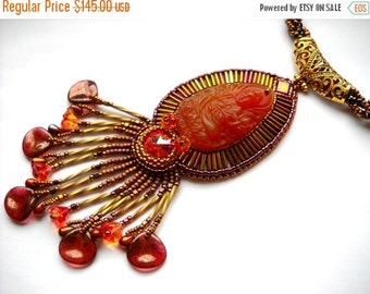 SALE 15% OFF Bead Embroidery necklace orange gold pink - Bead Embroidered
