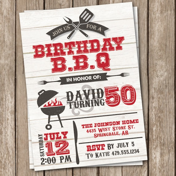 BBQ Birthday Invitation Grilling Party Invitation 50th