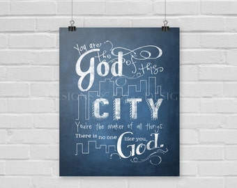 God of This City Wall Art - Blue - 8x10 - DIY Printable - INSTANT DOWNLOAD