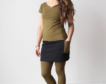 Mini Skirt Side Pockets:  Hemp Recycled Poly Fleece, Organic Cotton Black and Military Green