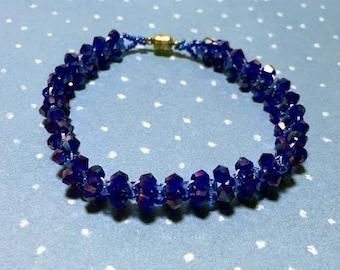 Blue Bicone Bracelet Blue Woven Bracelet Bicone Bracelet Sparkly Bracelet Dark Blue Bracelet Crystal Bracelet Bead Woven Bracelet