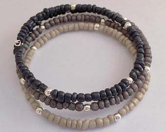 Black Ombre Bracelet, Seed Bead Memory Wire Bracelet, Triple Wrap Around Stackable Braclet, Beaded Bracelet Cuff