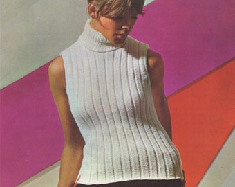 Womens Sleeveless Polo Neck Sweater PDF Knitting Pattern : Ladies 34, 36 and 38 inch chest . Summer Jumper . Digital Download