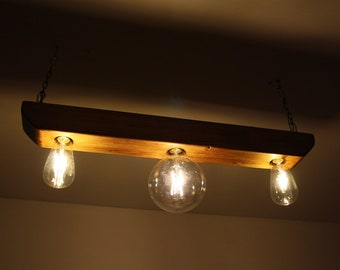 Wooden rustic ceiling light / Wood ceiling lamp / Wood light fixture / Wooden industrial light
