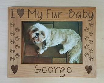 Dog Picture Frame, I Love My Fur-baby, 5x7 Pet Custom Laser Engraved Frame, Cat Picture Frame