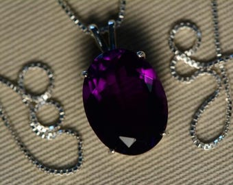 Amethyst Necklace, Certified 9.18 Carat Amethyst Pendant Appraised at 550.00 Sterling Silver Necklace, Natural Amethyst Jewelry