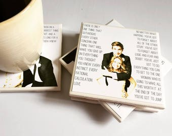 Jim & Pam Coasters | The Office - Set of 4 - True Love - Jim and Pam Halpert - The Office Gift Set - Jim Halpert Gift - Pam Halpert Gift