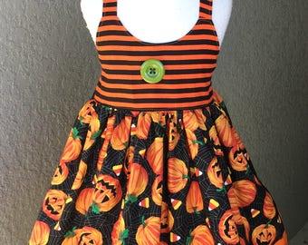 Pumpkins and Candy Corns Hummingbird Princess Dress READY TO SHIP