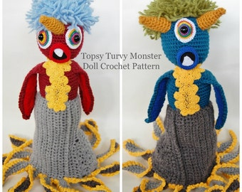 Monster Doll Crochet Pattern, Monster Crochet Pattern, Amigurumi Pattern, Topsy Turvy Doll