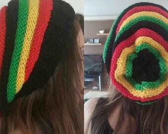 Rasta hat Rasta beanie Knit Jamaica hat Vegan oversize hat Jamaica slouch beanie hat Reggae hat Rastafarian hat Red yelow green beanie