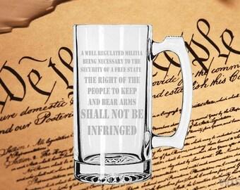 2nd Amendment Beer Mug Etched