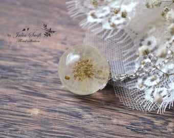 Real dandelion globe resin necklace, nature necklace, real flower necklace