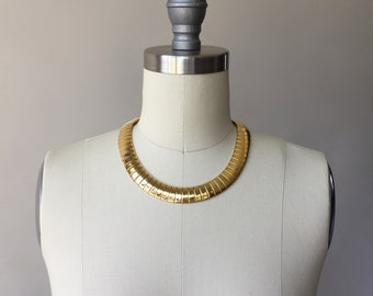 80s gold plate flexible collar necklace