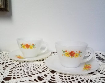 Vintage Fire King Floral Cups and Saucers