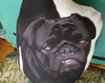 Frankie the Black Pug Pillow