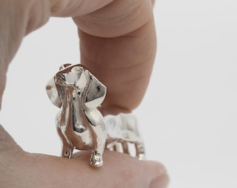 Vakkancs Dachshund pendant (solid sterling silver, 3D)