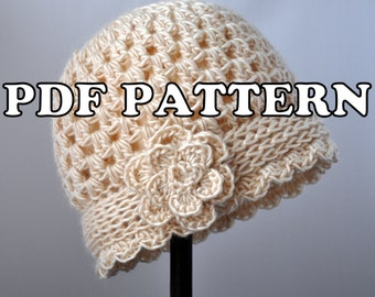 PDF PATTERN - Vintage Flowered Cloche