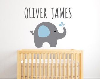 Elephant Wall Decal   Personalized Name Wall Decal   Elephants Wall Decals    Elephant Vinyl Wall
