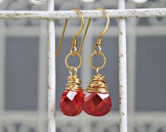 Gold Earrings, Ruby CZ Dangle Earrings, Teardrop Earrings, Burnt Red Earrings, Drop Earrings, CZ Jewelry, Delicate Gold Earrings, Boho Chic