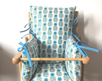 Printed high chair cushion pineapple teal and yellow ties together