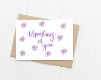 Thinking Of You Greeting Card, Purple Flowers Sympathy Blank Card, Sorry For Your Loss Card