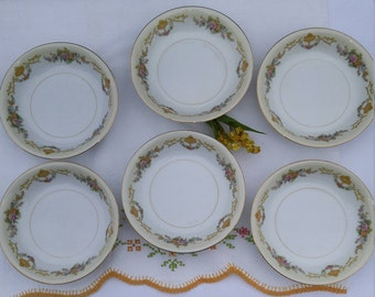 Noritake Imperial China Gold and Floral Berry Bowls, Dessert Bowls, Small Salad Bowls, Vintage Noritake - Set of 6