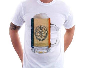 New York City Flag Beer Mug Tee, Unisex, Home Tee, City Pride, City Flag, Beer Tee, Beer T-Shirt, Beer Thinkers, Beer Lovers Tee