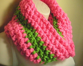 Green Striped Neon Pink Cowl Infinity Circle Scarf Neckwarmer