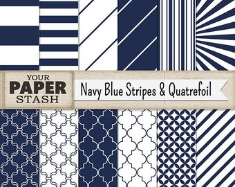 Navy Blue Striped Digital Paper, Blue Stripes, Quatrefoil, Nautical Digital Paper, Blue Paper, Masculine Father's Day, Instant Download