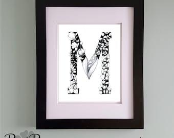 PRINTABLE Monogram Letter M Digital Print Hand Drawn Pen and Ink