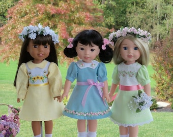 """14"""" Welie Wisher®, Glitter Girls Size PDF Sewing Dress Pattern: BLOSSOMS and BOWS /  fits Like 14"""" American Girl Wellie Wisher Doll Clothes"""