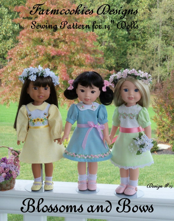 "14"" Welie Wisher®, Glitter Girls Size PDF Sewing Dress Pattern: BLOSSOMS and BOWS /  fits Like 14"" American Girl Wellie Wisher Doll Clothes"