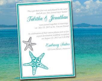 "Beach Wedding Reception Invitation Template ""Blissful Starfish"" Post Destination Wedding Invite - Mermaid Silver DIY Wedding Printable"