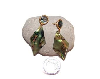 Vintage Gorgeous abalone shell dangle earrings,  Abalone shell Earrings, Shell earrings ,dangle earrings, Shell Earrings, pierced earrings