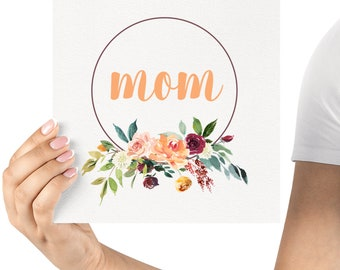 """2 for 1! - Instant Digital Printable - Mother's Day Print Gift Idea - Peach """"Mom"""" Floral Wreath"""