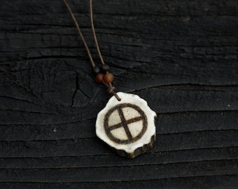 Sunwheel sun cross etsy sun cross deer antler pendant with baltic amber carved germanic solar wheel symbol prehistoric aloadofball