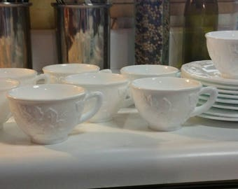 Milk glass grape pattern cups and saucers