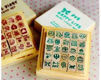 Diary Stamp Set - Wooden Rubber Stamp Set - 2 cases - Love Diary plus Happy Life