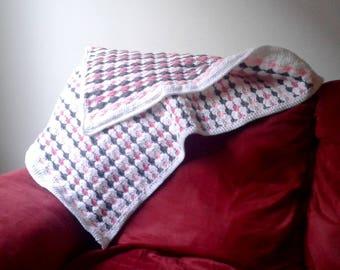 Baby Shell Blanket Pink/White/Grey