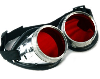 DSF Standard Uber Goggles Metal Red Industrial Cyber Goth Punk Cybergoth Cyberpunk real Steampunk Rave custom modular light up 5412