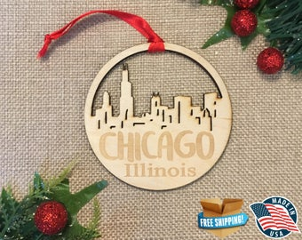 Chicago Illinois Ornament *** Christmas Holiday Ornament *** IL