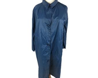 Vintage Retro 70s Navy Blue Pakamac Button Up Waterproof Coat Rainmac Raincoat