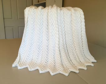Crocheted Ripple Baby Afghan - White
