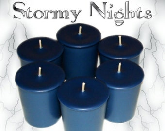 6 Stormy Nights Votive Candles Fresh Air Ozone Water Scent