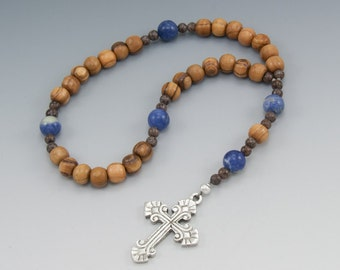 Christian Prayer Beads - Olive Wood with Sodalite - Brown & Blue - Anglican Rosary - Gifts For Men - Item # 783