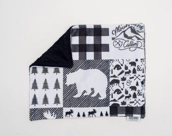 Lovey Monochrome Bear. Ready to Ship. Mini Baby Blanket. Baby Shower Gift. Woodland Lovie. Lovie. Security Blanket. Minky Blanket.