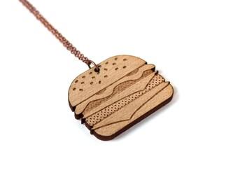 Burger necklace - cheeseburger pendant - hamburger jewelry - fast food jewellery - graphic minimalist offbeat - lasercut maple wood
